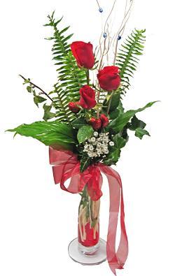 Çiçek gönderin cam vazoda 3 gül çiçekleri  İzmir Konak çiçek mağazası , çiçekçi adresleri