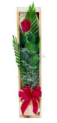 1 adet kutuda kirmizi gül  İzmir Konak online çiçek gönderme sipariş