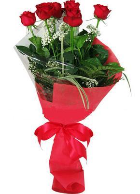 7 adet kirmizi gül buketi  İzmir Konak internetten çiçek siparişi