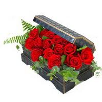 Sandik içerisinde 21 adet kirmizi gül  İzmir Konak çiçek mağazası , çiçekçi adresleri