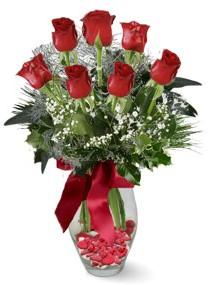 7 adet vazoda gül  İzmir Konak kaliteli taze ve ucuz çiçekler  kirmizi gül