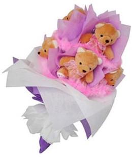 9 adet ayiciktan buket  İzmir Konak çiçek satışı