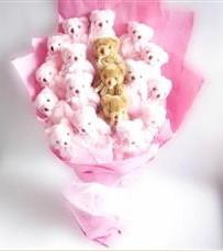 17 adet pelus ayicik buketi  İzmir Konak çiçek siparişi vermek