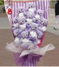 11 adet pelus ayicik buketi  İzmir Konak online çiçek gönderme sipariş