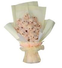 11 adet pelus ayicik buketi  İzmir Konak hediye sevgilime hediye çiçek
