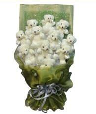 11 adet pelus ayicik buketi  İzmir Konak çiçek yolla , çiçek gönder , çiçekçi
