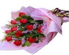 11 adet kirmizi güllerden görsel buket  İzmir Konak online çiçek gönderme sipariş