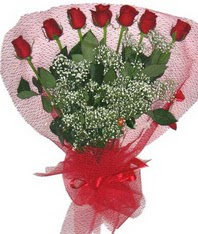7 adet kipkirmizi gülden görsel buket  İzmir Konak hediye çiçek yolla