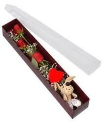 kutu içerisinde 3 adet gül ve oyuncak  İzmir Konak çiçek gönderme sitemiz güvenlidir