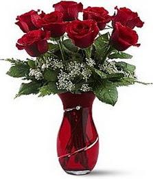 Vazo içinde 8 adet kirmizilar içinde güller  İzmir Konak yurtiçi ve yurtdışı çiçek siparişi