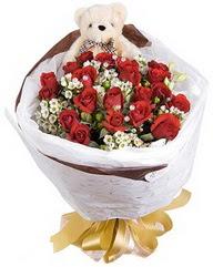 15 cm boyutlarinda ayicik ve 12 adet gül  İzmir Konak çiçek mağazası , çiçekçi adresleri