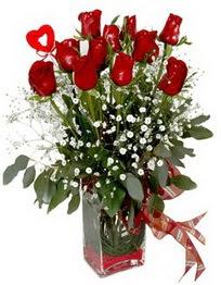 İzmir Konak online çiçekçi , çiçek siparişi  9 adet mika yada cam vazoda gül tanzimi kalp çubuk