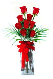 İzmir Konak uluslararası çiçek gönderme  9 adet mika yada cam vazoda gül tanzimi