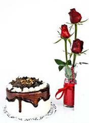 İzmir Konak online çiçekçi , çiçek siparişi  vazoda 3 adet kirmizi gül ve yaspasta