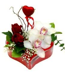 İzmir Konak çiçek yolla , çiçek gönder , çiçekçi   mika kalp içinde 2 gül 1 kandil orkide kalp çubuk