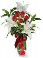 İzmir Konak online çiçekçi , çiçek siparişi  5 adet kirmizi gül ve 3 kandil kazablanka