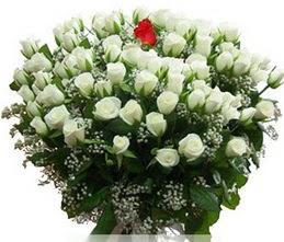 İzmir Konak kaliteli taze ve ucuz çiçekler  100 adet beyaz 1 adet kirmizi gül buketi