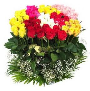 İzmir Konak hediye çiçek yolla  51 adet renkli güllerden aranjman tanzimi