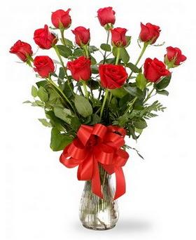 İzmir Konak anneler günü çiçek yolla  12 adet kırmızı güllerden vazo tanzimi