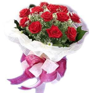 İzmir Konak 14 şubat sevgililer günü çiçek  11 adet kırmızı güllerden buket modeli