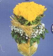 İzmir Konak çiçekçi telefonları  Cam vazoda 9 Sari gül