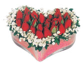 İzmir Konak uluslararası çiçek gönderme  mika kalpte kirmizi güller 9