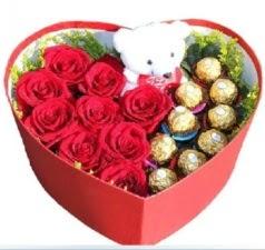 Kalp içerisinde 8 gül 9 çikolata ve ayıcık  İzmir Konak yurtiçi ve yurtdışı çiçek siparişi