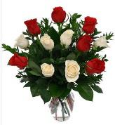 Vazo içerisinde 6 kırmızı 6 beyaz gül  İzmir Konak çiçek online çiçek siparişi