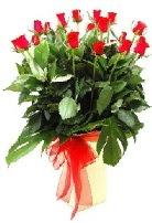 Vazoda 15 adet kırmızı gül  İzmir Konak çiçek yolla , çiçek gönder , çiçekçi
