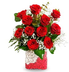 11 adet kırmızı gül vazosu  İzmir Konak İnternetten çiçek siparişi