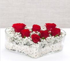 kalp içerisinde 7 adet kırmızı gül  İzmir Konak online çiçekçi , çiçek siparişi