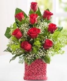 Cam içerisinde 9 adet kırmızı gül  İzmir Konak kaliteli taze ve ucuz çiçekler