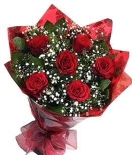 6 adet kırmızı gülden buket  İzmir Konak internetten çiçek satışı
