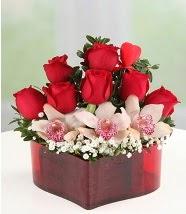3 kandil orkide 5 kırmızı gül kalp mika  İzmir Konak kaliteli taze ve ucuz çiçekler