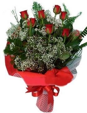 7 kırmızı gül buketi  İzmir Konak ucuz çiçek gönder