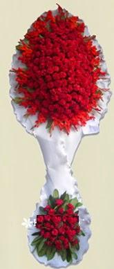Çift katlı kıpkırmızı düğün açılış çiçeği  İzmir Konak çiçekçi telefonları