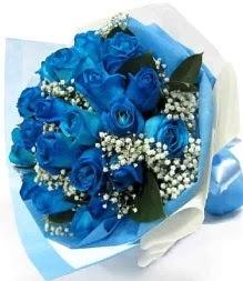 15 adet mavi gülden şahane eşsiz buket  İzmir Konak çiçek yolla