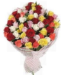 51 adet rengarenk gül buketi  İzmir Konak hediye çiçek yolla