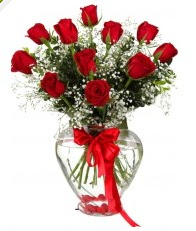 9 adet kırmızı gül cam kalpte  İzmir Konak çiçekçiler