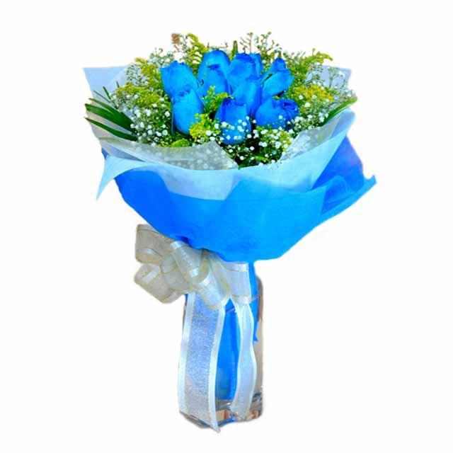 7 adet mavi gül buketi  İzmir Konak anneler günü çiçek yolla