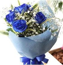 5 adet mavi gülden buket çiçeği  İzmir Konak 14 şubat sevgililer günü çiçek