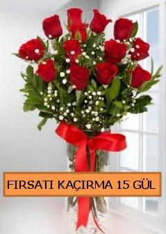 15 İthal kırmızı gül büyük başlı orjinal  İzmir Konak çiçek mağazası , çiçekçi adresleri