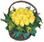 İzmir Konak İnternetten çiçek siparişi  Sepet içinde kaliteli sari güller