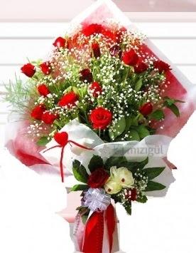 Kız isteme buketi çiçeği 41 güllü  İzmir Konak çiçek siparişi vermek
