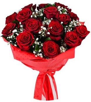 Kız isteme çiçeği buketi 17 adet kırmızı gül  İzmir Konak uluslararası çiçek gönderme