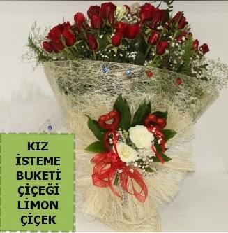 27 adet kırmızı gülden kız isteme buketi  İzmir Konak 14 şubat sevgililer günü çiçek