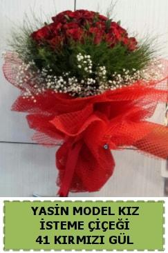 41 Adet kırmızı gül kız isteme çiçeği  İzmir Konak online çiçek gönderme sipariş