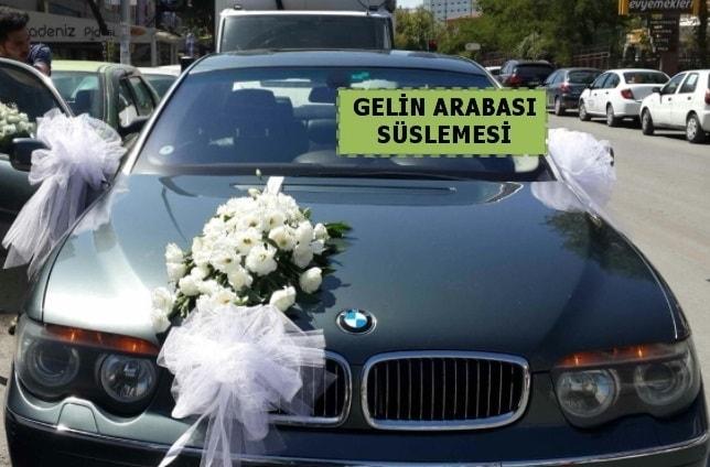 Gelin Arabası süslemesi Düğün arabası  İzmir Konak cicek , cicekci