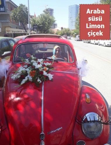 Gelin arabası süslemesi düğün arabası süs  İzmir Konak cicek , cicekci
