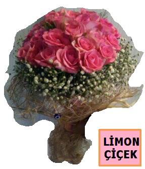 Pembe gül kız isteme söz nişan çiçeği  İzmir Konak cicekciler , cicek siparisi